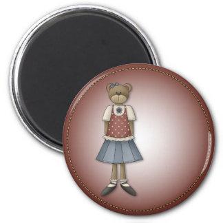 Whimsical Girl Bear Design 2 Inch Round Magnet