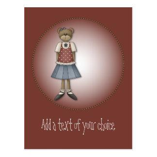 Whimsical Girl Bear Design Postcard