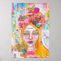 Whimsical Girl Butterflies Flowers Inspirational Poster