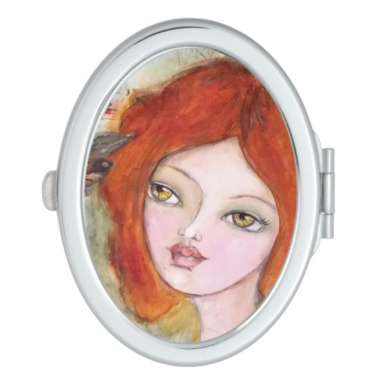 Whimsical Girl Cute Bird Fairytale Artsy Cute Fun Compact Mirror
