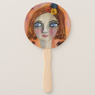 Whimsical Girl Hand Fan