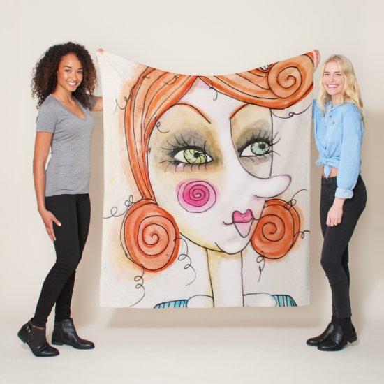 Whimsical Girl Illustration Red Hair Cute Fun Art Fleece Blanket