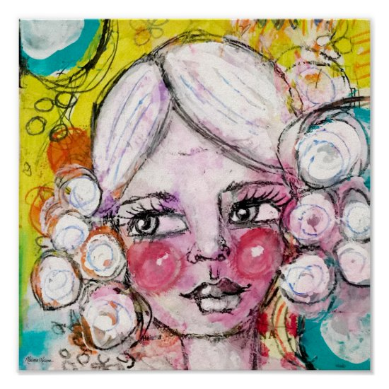 Whimsical Girl Mixed Media Painting Blue Yellow Poster