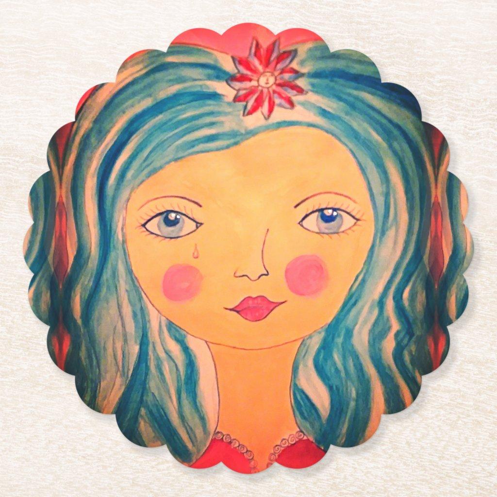 Whimsical Girl on Custom Drink Coasters