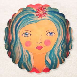 Whimsical Girl on Custom Drink Coasters