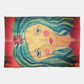 Whimsical Girl on Kitchen Towel