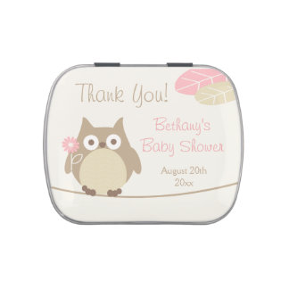 Whimsical Girl Owl Baby Shower Favors Jelly Belly Candy Tins