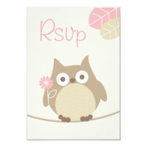 Whimsical Girl Owl Baby Shower Rsvp Card