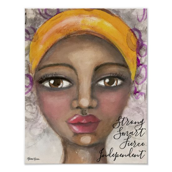 Whimsical Girl Portrait Beautiful Yellow Purple Poster