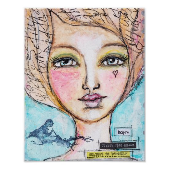 "Whimsical Girl Portrait Mixed Media Art ""Inspire"" Poster"