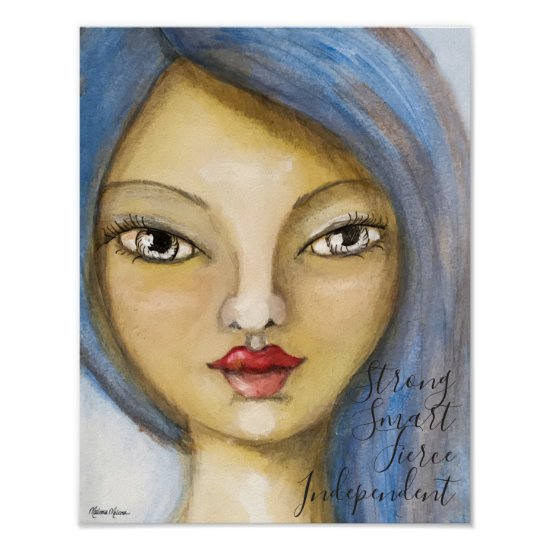 Whimsical Girl Portrait Painting Woman Blue Hair Poster