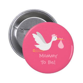 Whimsical Girl Stork Baby Shower Button