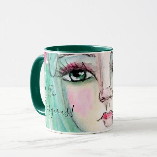 Whimsical Girl Watercolor Art Green Blue Teal Cute Mug