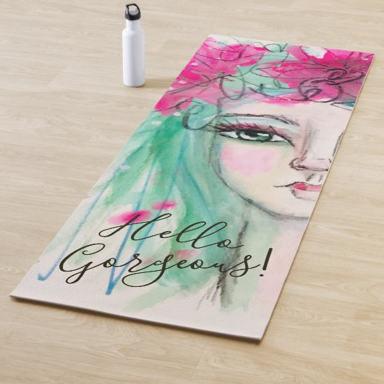 Whimsical Girl Watercolor Art Portrait Pink Blue Yoga Mat