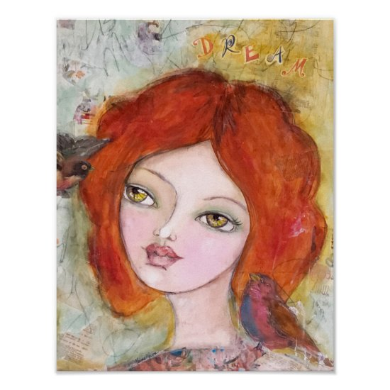 Whimsical Girl with Birds Mixed Media Art Cute Fun Poster