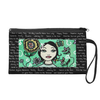 Whimsical Girl with Colorful Flowers Handbag Wristlet Purse