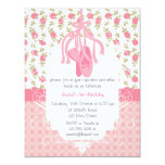 "Whimsical Girly Floral Pink Ballerina Birthday 4.25"" X 5.5"" Invitation Card"