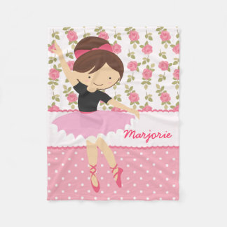 Whimsical Girly Floral Pink Ballerina Personalized Fleece Blanket