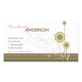 Whimsical Girly Flower Dots Swirls Profile Card Business Card