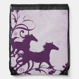 Whimsical Girly Purple Wild Horses Drawstring Bag