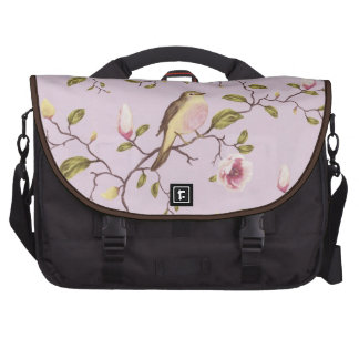 Whimsical Girly Vintage Floral Fabric Pink & Brown Laptop Commuter Bag