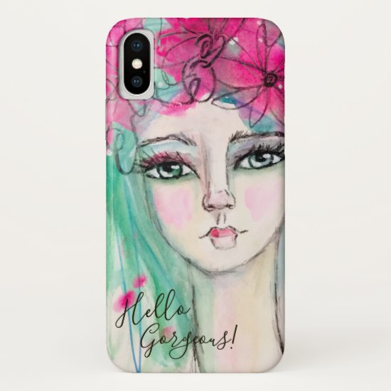 Whimsical Girly Watercolor Art Pink Blue Customize iPhone XS Case