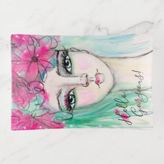 Whimsical Girly Watercolor Art Portrait  Pink Blue Trinket Trays