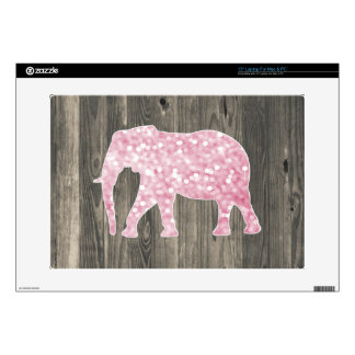 "Whimsical Glitter Sparkles Elephant on Wood Design 15"" Laptop Decals"