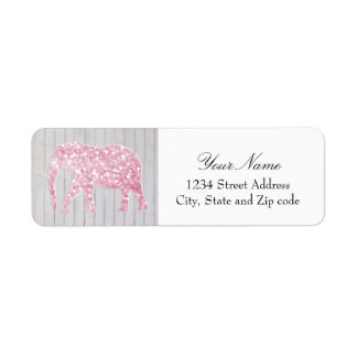 Whimsical Glitter Sparkles Elephant on Wood Design Label