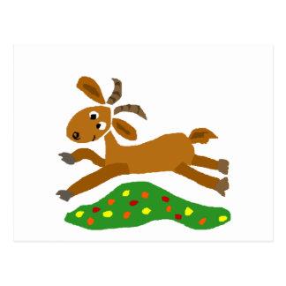 Whimsical Goat Running thru Meadow Postcard