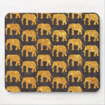 Whimsical Gold Glitter Elephants Pattern on Gray Mouse Pad