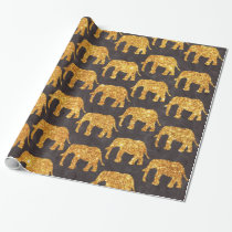 Whimsical Gold Glitter Elephants Pattern on Gray Wrapping Paper