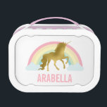 """Whimsical Gold Unicorn Girl&#39;s Lunch Box<br><div class=""""desc"""">Adorable custom design with a unicorn theme. Personalize it with a name or any text of your choice for a one of a kind design.</div>"""