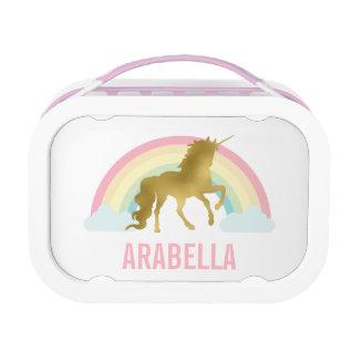 Whimsical Gold Unicorn Girl's Lunch Box at Zazzle