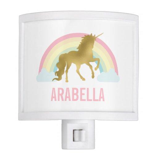 Whimsical Gold Unicorn Girl's Room Night Light
