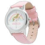 Whimsical Gold Unicorn Girl's Wrist Watch at Zazzle