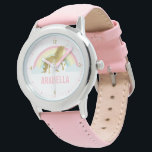 "Whimsical Gold Unicorn Girl&#39;s Wrist Watch<br><div class=""desc"">Sweet personalized unicorn design.</div>"