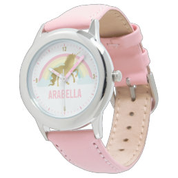 Whimsical Gold Unicorn Girl's Wrist Watch