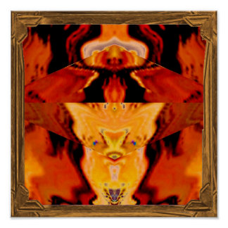 Whimsical : Golden Fire Cat Poster