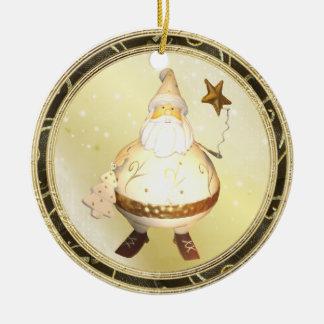 Whimsical Golden Glow Vintage Santa Ornament
