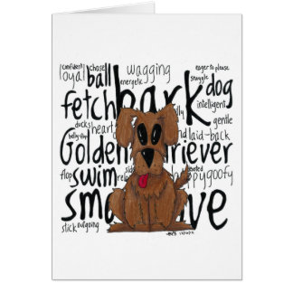 Whimsical Golden Retriever Card