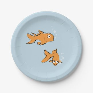 Whimsical Goldfish 7 Inch Paper Plate