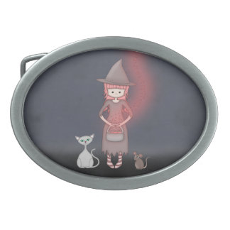 Whimsical Good Witch in Girly Pink and Grey Belt Buckle