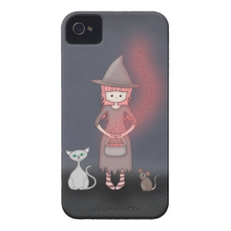 Whimsical Good Witch in Girly Pink and Grey Case-Mate iPhone 4 Case