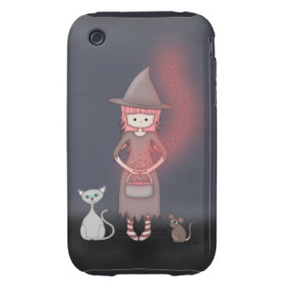 Whimsical Good Witch in Girly Pink and Grey iPhone 3 Tough Covers