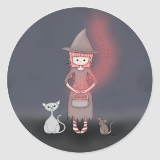 Whimsical Good Witch in Girly Pink and Grey Classic Round Sticker