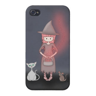 Whimsical Good Witch in Girly Pink and Grey Cases For iPhone 4