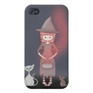 Whimsical Good Witch in Girly Pink and Grey Case For iPhone 4