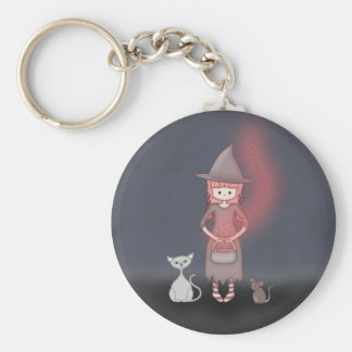 Whimsical Good Witch in Girly Pink and Grey Keychain
