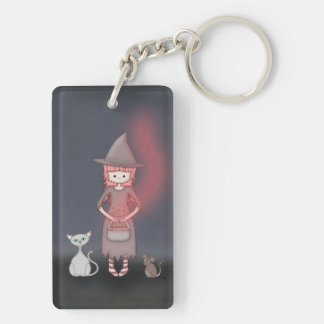 Whimsical Good Witch in Girly Pink and Grey Rectangle Acrylic Keychains